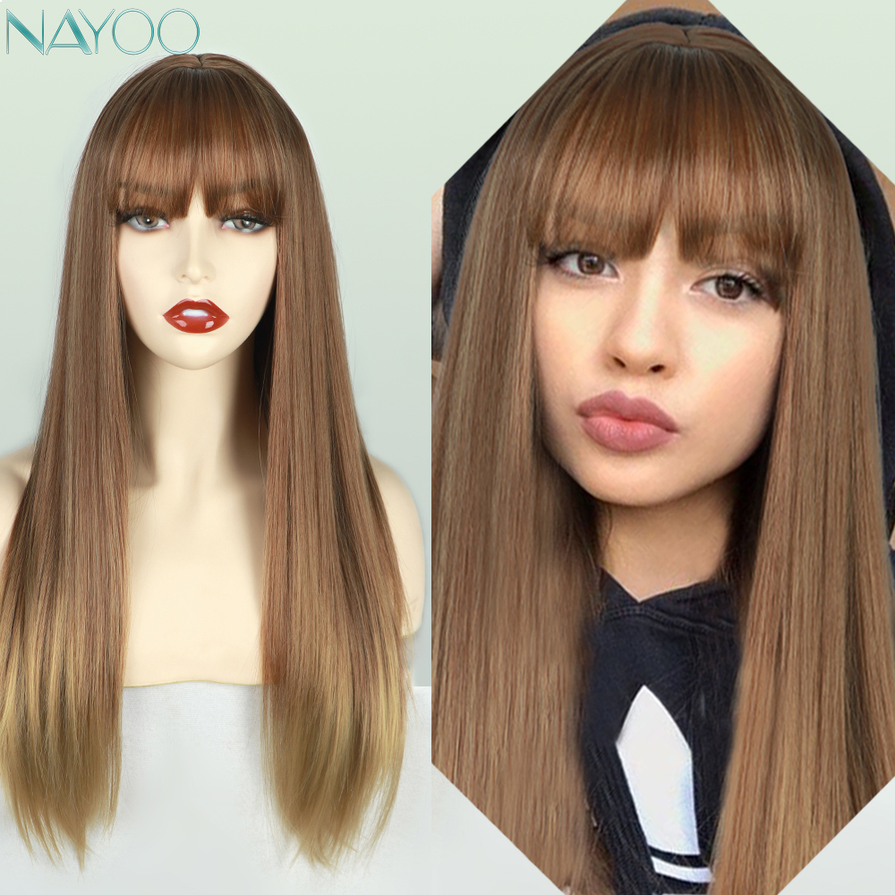 Long Ombre Brown Synthetic Wigs Straight Blonde Gloden Wig With Bang For Women Party Natural Hair Heat Resistant Wigs