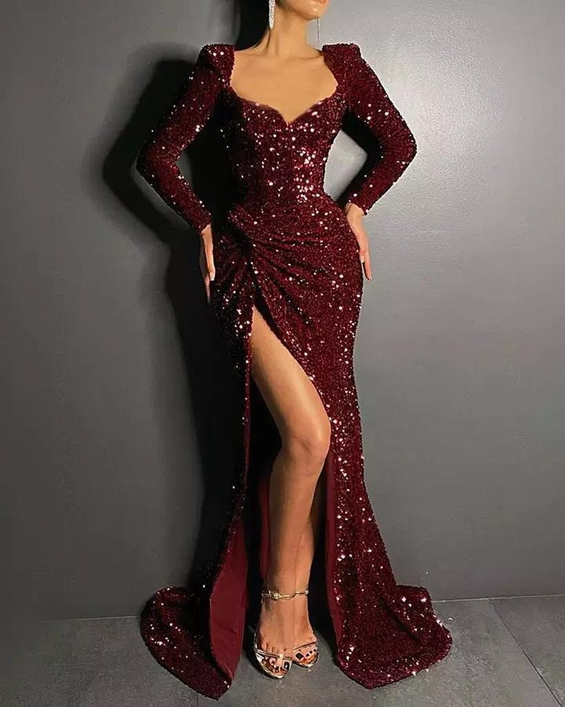 Luxury Long Burgundy Prom Dresses Mermaid Backless Shiny Sexy V-Neck Long Sleeved Wedding Party Formal Ceremony Evening Gown New