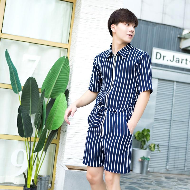 Summer New Trendy Men's Catwalk Shorts Short Sleeves Overalls Jumpsuit Jumpsuit Jumpsuit Original