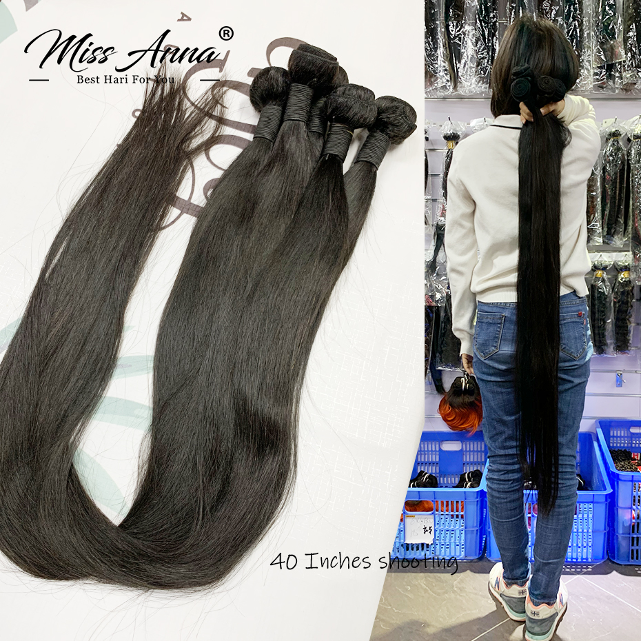 Weave Bundles Human-Hair-Extensions Remy Soft Missanna Natural Straight Brazilian 1/3/4pcs