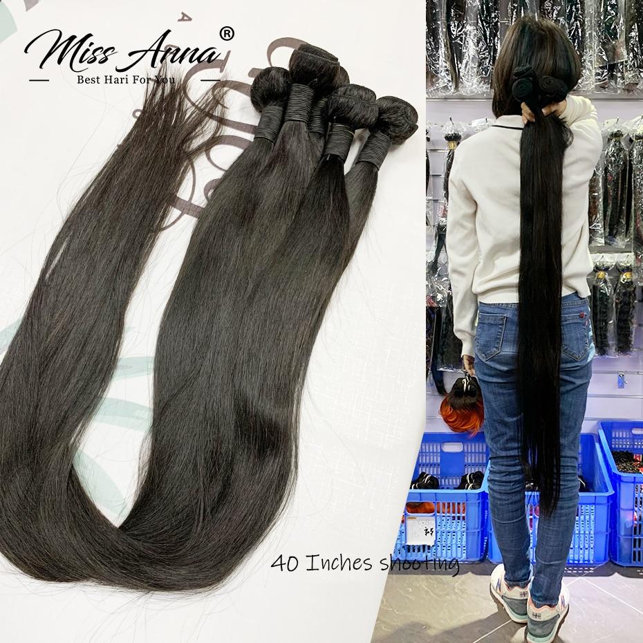 Missanna 32 34, 36, 38, 40 дюймов прямые синтетические волосы Комплект бразильские мягкие вплетаемые пряди 1/3/4 штук, густые натуральные человеческие в...
