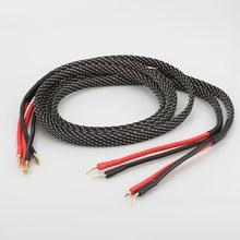 Пара Чистый медный кабель для колонок hi fi штепсельная вилка