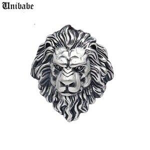 Огромный 925 пробы серебро Король Лев кольцо Мужские байкерские панк мужское кольцо из чистого серебра кольцо S925 Лев Открытое кольцо