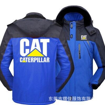 Winter Jacket Men for CAT logo Thick Velvet Warm Coat Male Windproof Hooded Outwear Casual Mountaineering Overcoat 2