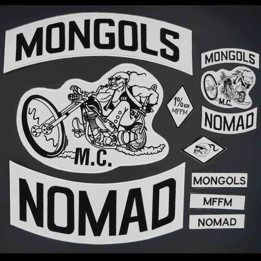Mongols nomad mc grande bordado punk motociclista remendo adesivo para vestuário acessórios crachá