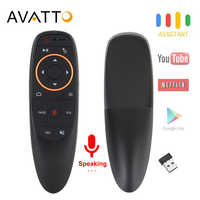 AVATTO G10 Voice Air Mouse with USB 2.4GHz Wireless 6 Axis Gyroscope Microphone IR Remote Control For Android tv Box, Laptop, PC