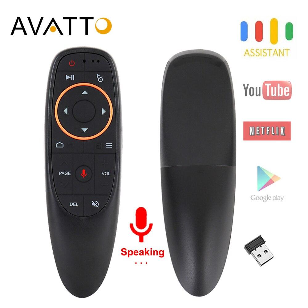 Souris d'air vocale AVATTO G10 avec USB 2.4GHz sans fil 6 axes Gyroscope Microphone IR télécommande pour Android tv Box, ordinateur portable, PC