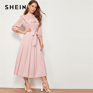 Image 4 - SHEIN Mock neck Ruffle Trim Self Belted Dress Women Spring Autumn Long Dress Fit and Flare A Line Elegant Empire Dresses