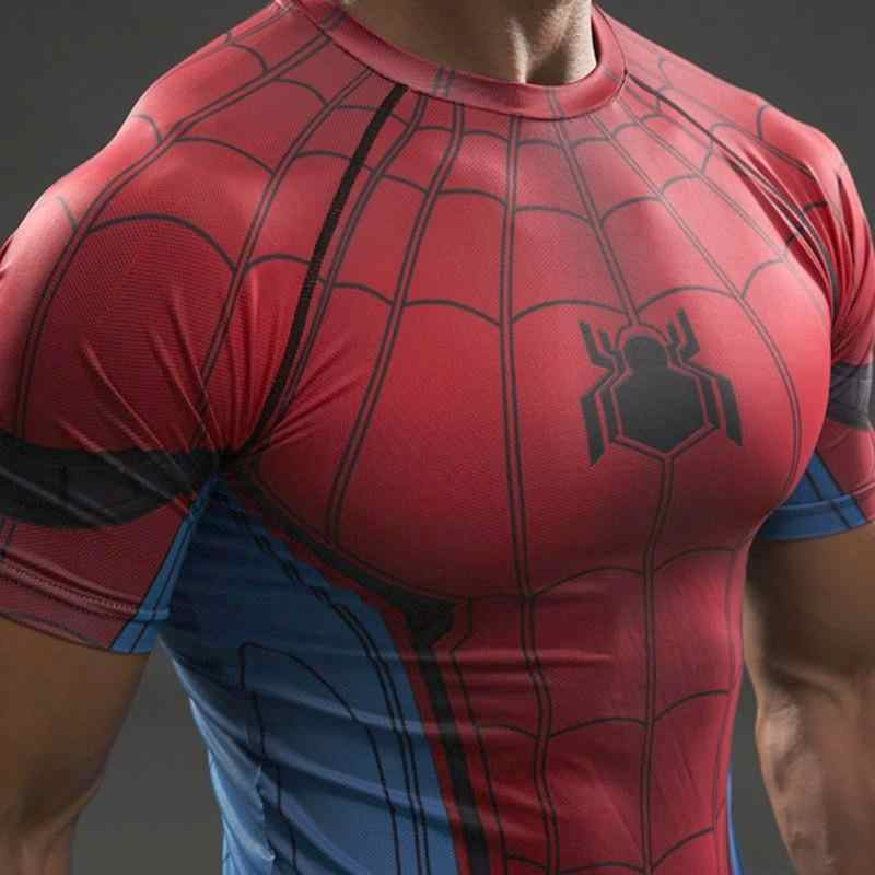 New 2019 Mens Fitness T shirt 스파이더 맨 수퍼맨 캡틴 아메리카 겨울 군인 Marvel T Shirt Avengers Costume Superhero Mens