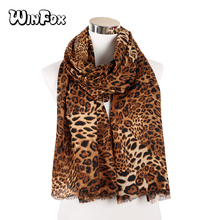 Winfox Vintage Animal Print Leopard Scarf For Women Ladies Winter Scarves Shawl Stole