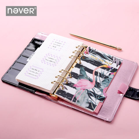 nunca flamingo a6 binder notebooks espiral capa