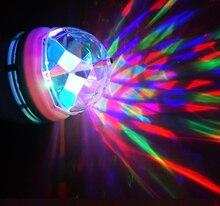 フルカラー 3 ワット 6 ワット rgb led ランプ E27 ランパーダ led 電球 ac 85 265 v 110 v 220 v 自動回転ステージライトプロジェクター dj パーティーショー
