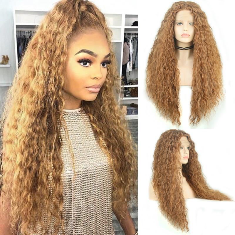 Charisma peruca cabelo encaracolado, cabelo longo sem cola sintético frontal, resistente ao calor, loira, perucas para cosplay