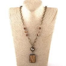 Модные богемные ювелирные изделия в этническом стиле, антикварные цепочки 10 мм, Звенья из камня и кристаллов, прямоугольные каменные подвески, ожерелья, Прямая поставка