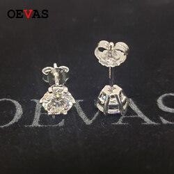 OEVAS prawdziwe 1 Carat D kolor Moissanite stadniny kolczyki 18K złoty kolor 100% 925 Sterling Wedding Party musujące Bridal Fine Jewelry