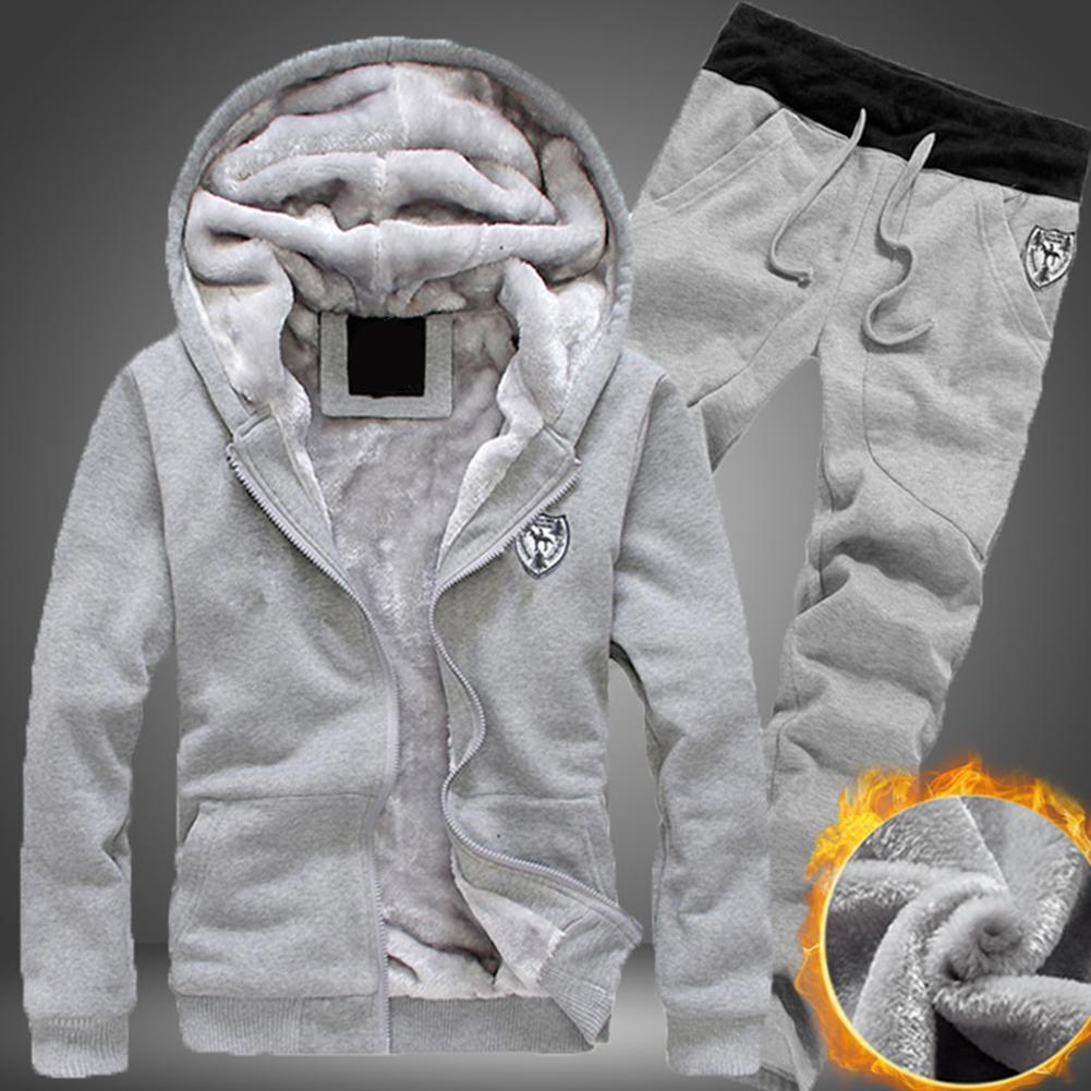 2020 Plus Size Men Casual Warm Tracksuit Fleece Zipper Hooded Coat Drawstring Pants 2 Piece Sets Mens Clothing