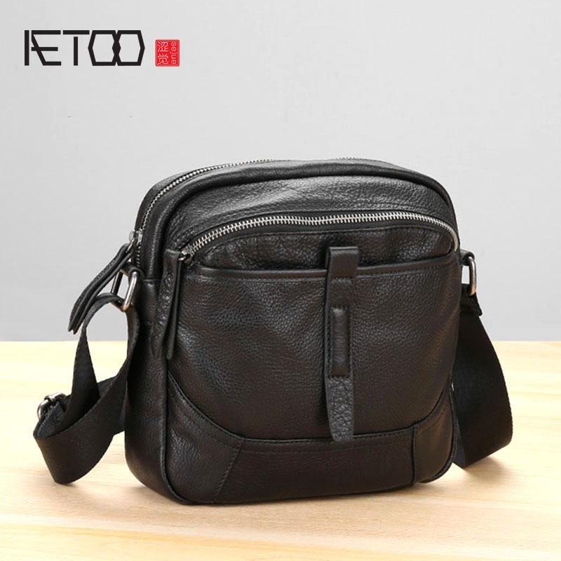 AETOO Handmade Leather Shoulder Bag Male Casual Retro Men's Head Layer Cowhide Soft Skin Oblique Cross Small Bag