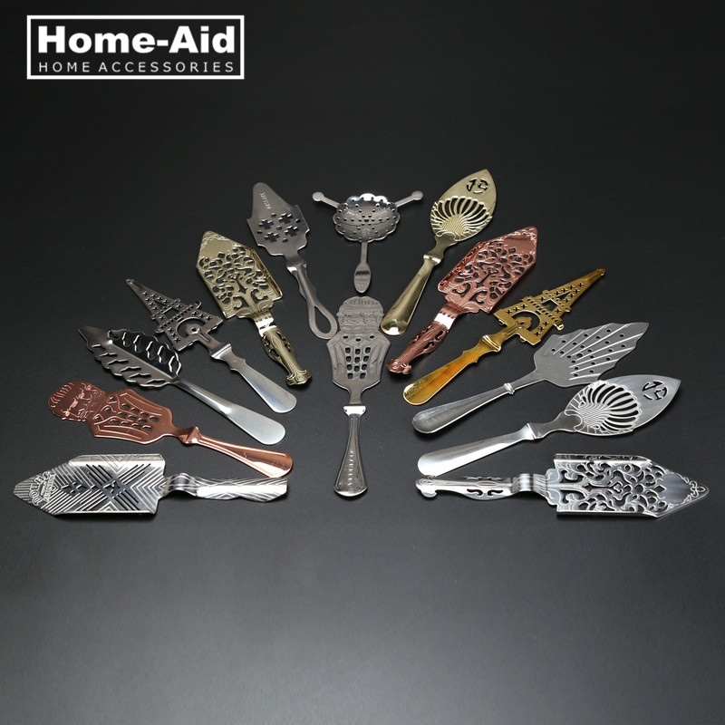 New 304 Stainless Steel Absinthe Spoon Cocktail Bar Utensils Wormwood Bitter Scoop Absinthe Glass Cup Drink Ware Filter Spoons