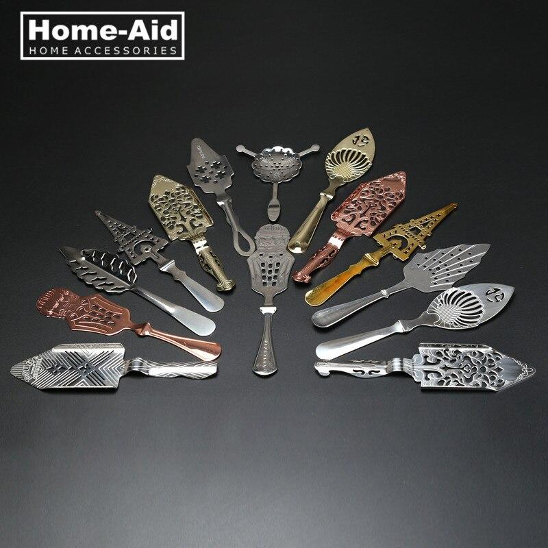 Nueva cuchara de absenta de acero inoxidable 304, utensilios para cócteles, cuchara amarga de ajenjo, copa de vidrio de absenta, cucharas de filtro