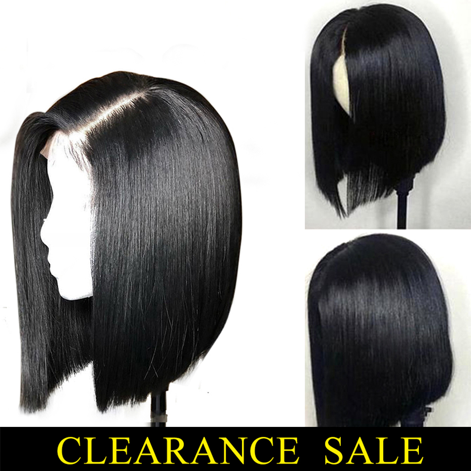 13x4 Remy Straight Lace Front Wig Brazilian Bob Wigs For Black Women With Baby Hair Real Human Hair Toppers My First Wig 150%