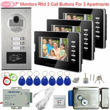 Dla 3 apartamenty wideodomofon 7 cal biały czarny kontroli dostępu domofon dla wideo z domu drzwi System z elektroniczny zamek do drzwi tanie tanio SUNFLOWERVDP Głośnomówiący Wired color 100V-240V Aluminum alloy Wall Mounting 100V-240V US AU EURO CA 2-pin plug UK 3-pin Plug