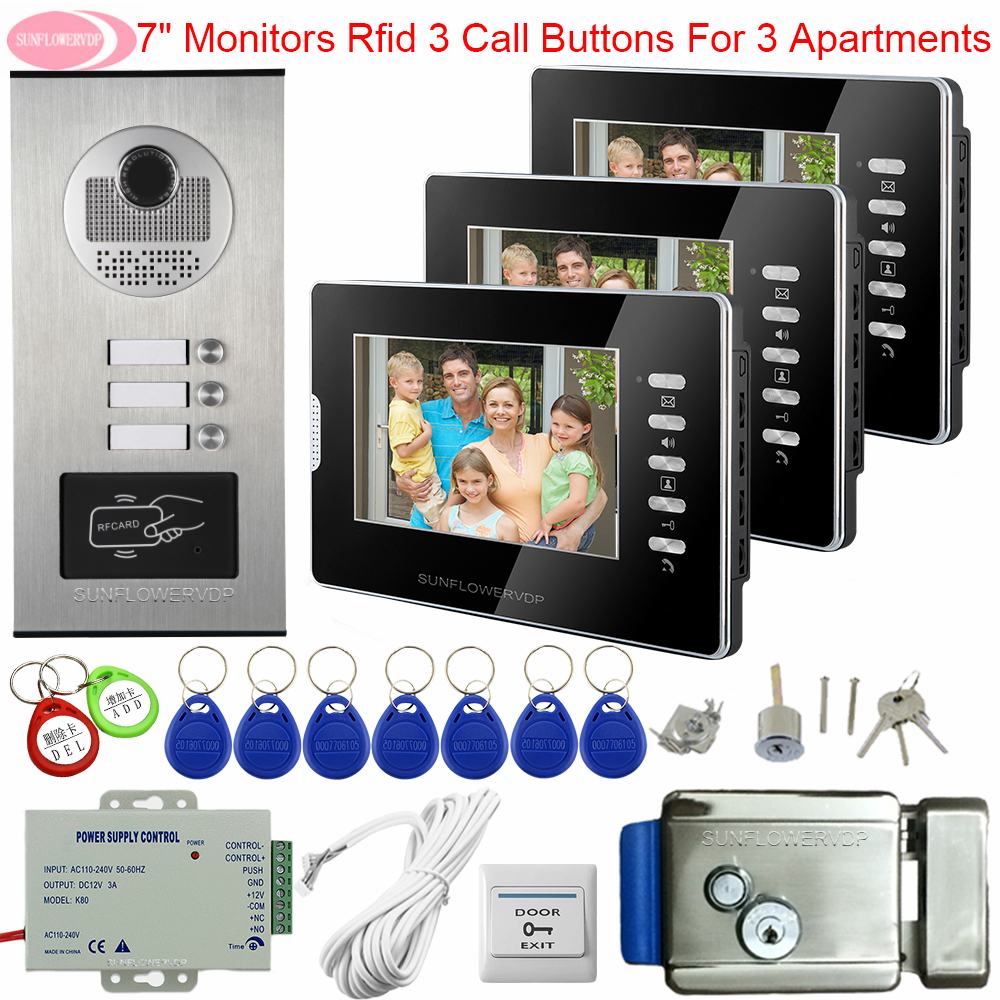 For 3 Apartments Video Intercom 7 Inch White/Black Access Control Intercom For Home Video Door System With Electronic Door Lock