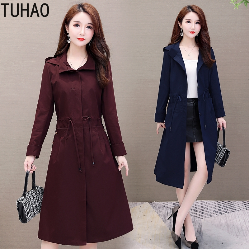 TUHAO 2019 Autumn Winter Middle Age Women Trench Coats Large Size 5XL 4XL 3XL Hooded Windbreaker Long Casual Jacket Coat WM12
