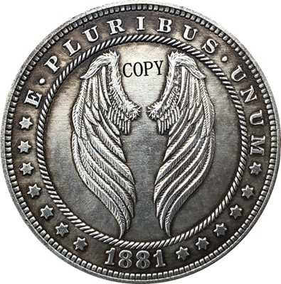 Hobo Nikkel 1881-CC Vs Morgan Dollar Munt Copy Type 171