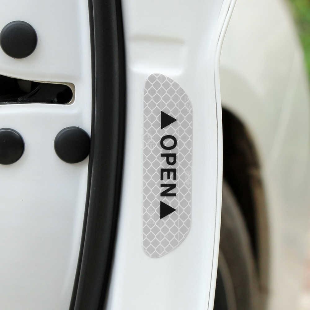 4 piezas cinta reflectante de marca de advertencia accesorios exteriores universales pegatinas de puerta de coche para Toyota Camry Corolla RAV4 Land Cruiser
