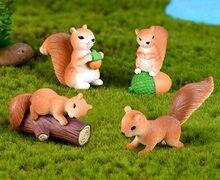 Figurines d'animaux écureuil, personnage miniature en résine, artisanat féerique, bouteille de terrarium, mini plantes bonsaï, décor, 8 pièces