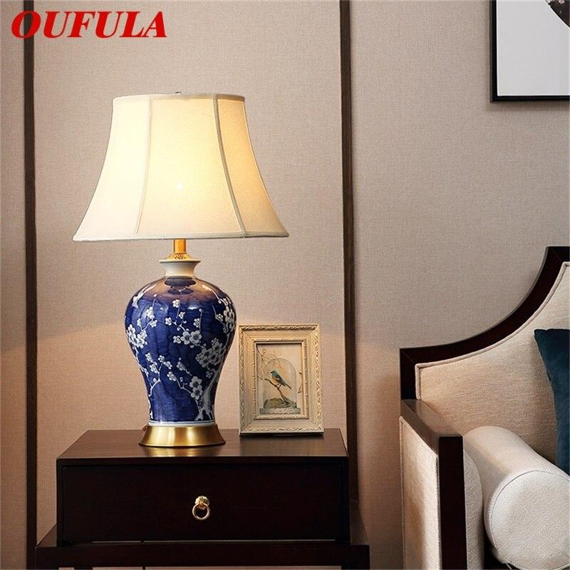 Купить oufula латунные настольные лампы синий керамический настольный