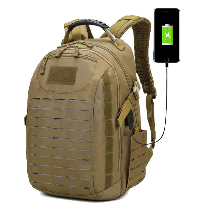 Tactical Molle USB Backpack Army Military Combat Bag Camping Rucksack Sport Backpacks Travelling Hiking Hunting Outdoor Bag Pack