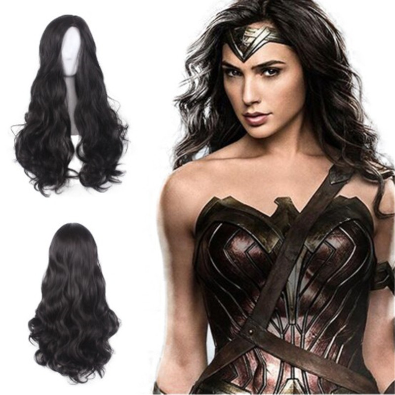 2020 Wonder Woman cosplay Diana Prince New black wig long hair Halloween character costume props wig accessories