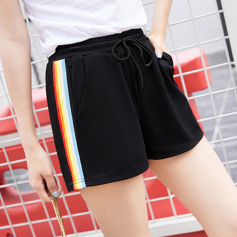 Summer Women's Casual Rainbow Shorts Street Women's Wild Loose Cotton Soft Stretch Shorts