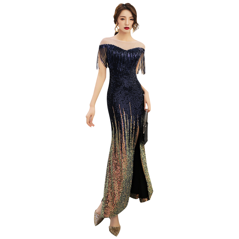 Evening     Dress   Tassel Split Sequin Women Party   Dresses   Short Sleeve Zipper Robe De Soiree O-neck Elegant Formal Gowns 2019 F060