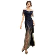 ชุดราตรีแยกเลื่อมเดรสแขนสั้นซิปRobe De Soiree O Neck Elegant Gownsอย่างเป็นทางการ 2019 F060