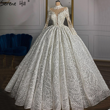 Luxury Ivory High Neck Sexy  Wedding Dresses 2020 Long Sleeves Beading Pearls Bridal Gowns HM67129 Custom Made