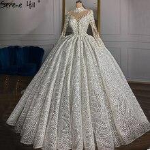 Luxus Elfenbein High Neck Sexy Hochzeit Kleider 2020 Lange Ärmel Perlen Perlen Brautkleider HM67129 Nach Maß