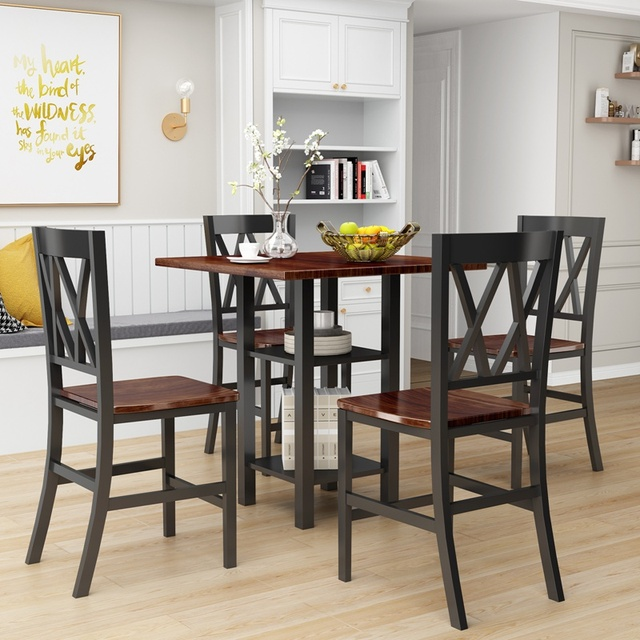 5 Piece Dining Set With Double Shelf And Matching Chairs For Family Use, Dining Room Furniture Set 3