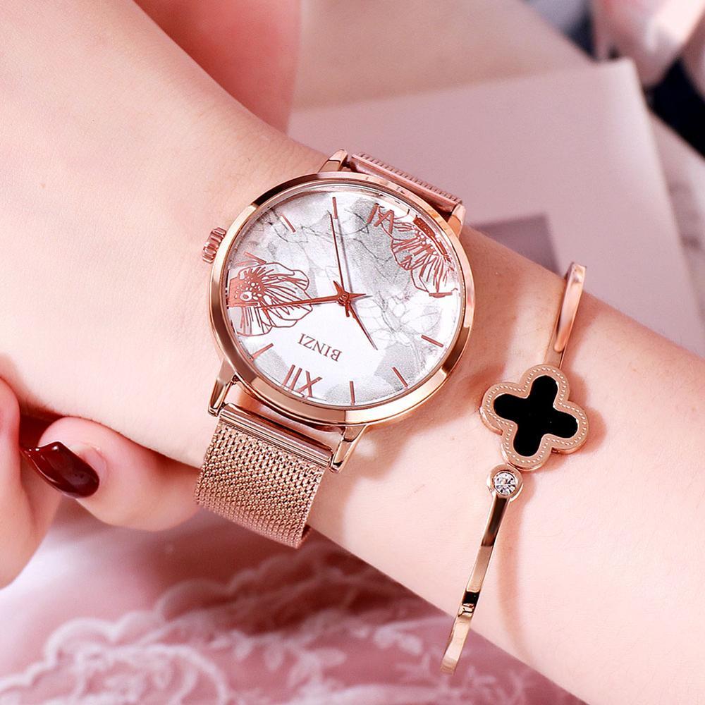 Women Wrist Watches 2019 Top Brand Luxury Rose Gold Ladies Watches Flower Dial Ultra Thin Watch For Relogio Feminino Reloj Mujer