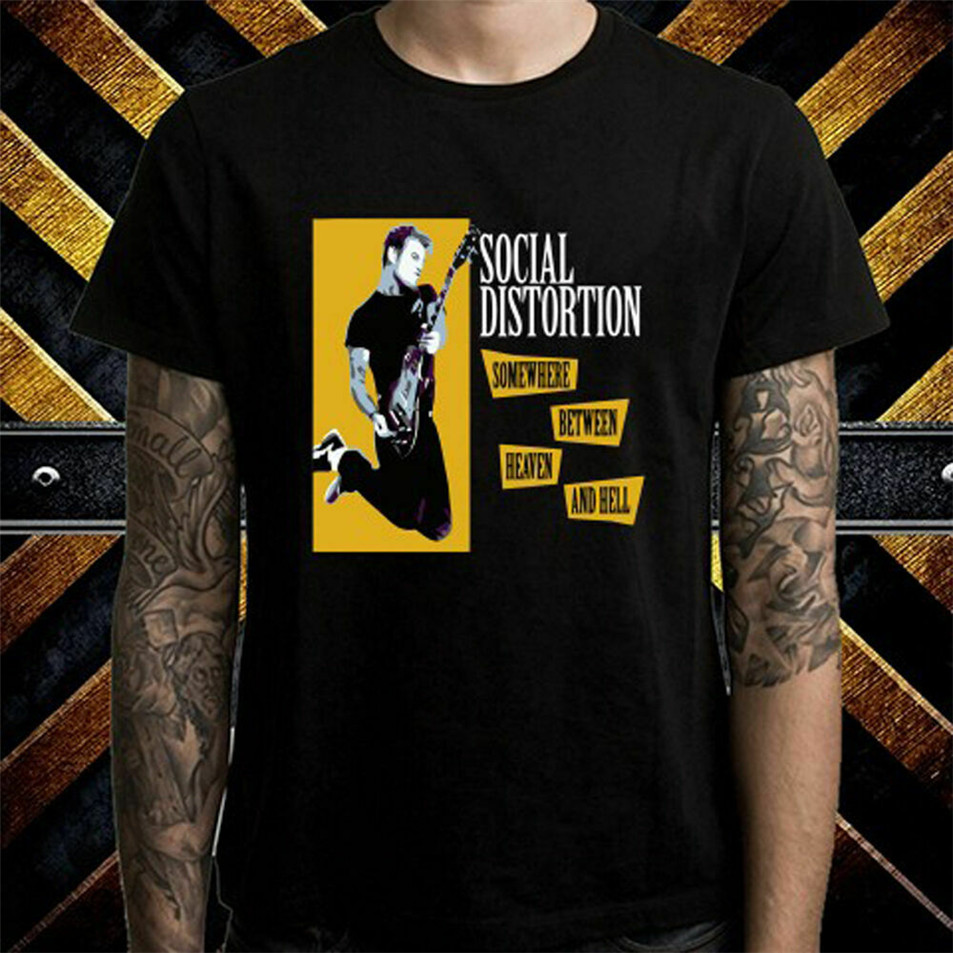 Social Distortion Punk Rock Band Album Mens Black Tshirt Size S To 3Xl Loose Size Top Ajax Funny Tee Shirt image
