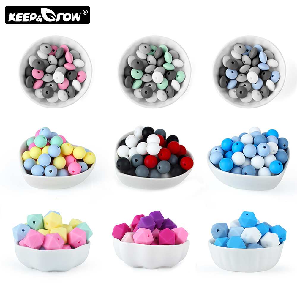 Keep&Grow 20Pcs Silicone Beads Food Grade Baby Teethers  Silicone Teething Necklace DIY Jewelry Making Nursing Toys Accessories