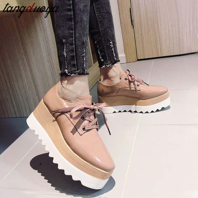new 2020Women Casual Platform Shoes High Heels Shoes Woman Wedges Women Shoes Leather zapatos mujer 2019