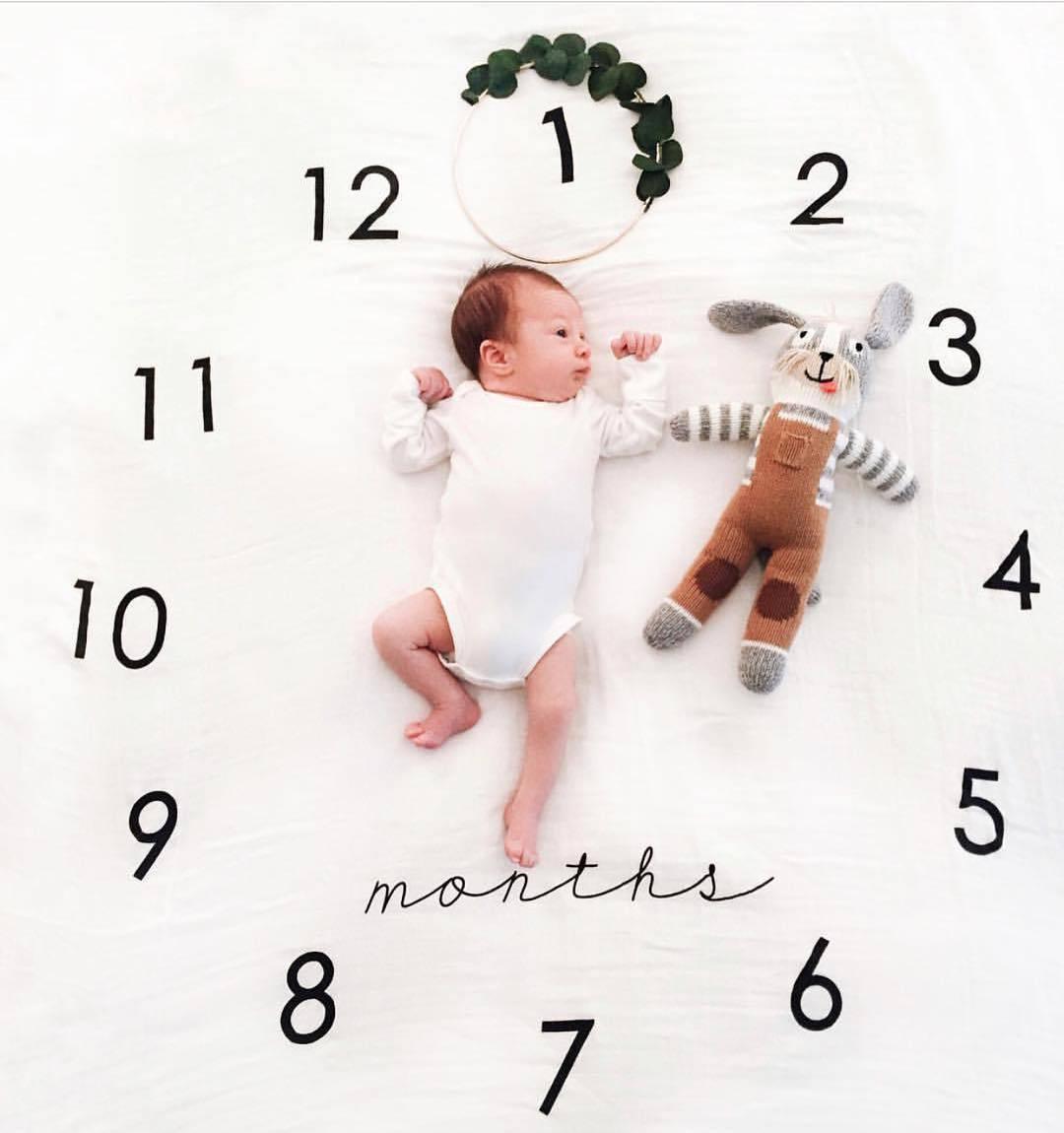 Newborn Baby Milestone Blankets Monthly Photography Blanket Infant Baby Milestone Blanket Photo Photography