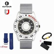 EUTOUR magnetyczny zegarek kwarcowy mężczyźni wodoodporny zegarek piłka pokaż moda Casual magnes zegarki erkek kol saati 2020 drop ship
