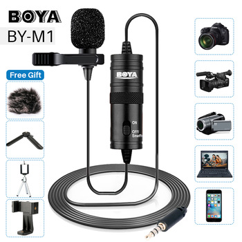 BOYA BY-M1 3.5mm Lavalier Lapel Microphone for Canon Nikon DSLR Camcorders, Studio microphone for iPhone Andriod Phone Zoom H1N