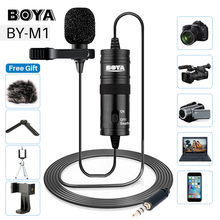 BOYA BY-M1 Lavalier Omnidirectional Condenser Microphone for Canon Nikon Sony,for iPhone 7 6s Plus DSLR Camcorder Audio Recorder boya by lm10 by lm10 phone audio video recording lavalier condenser microphone for iphone 6 5 4s 4 sumsang galaxy 4 lg g3 xiaomi