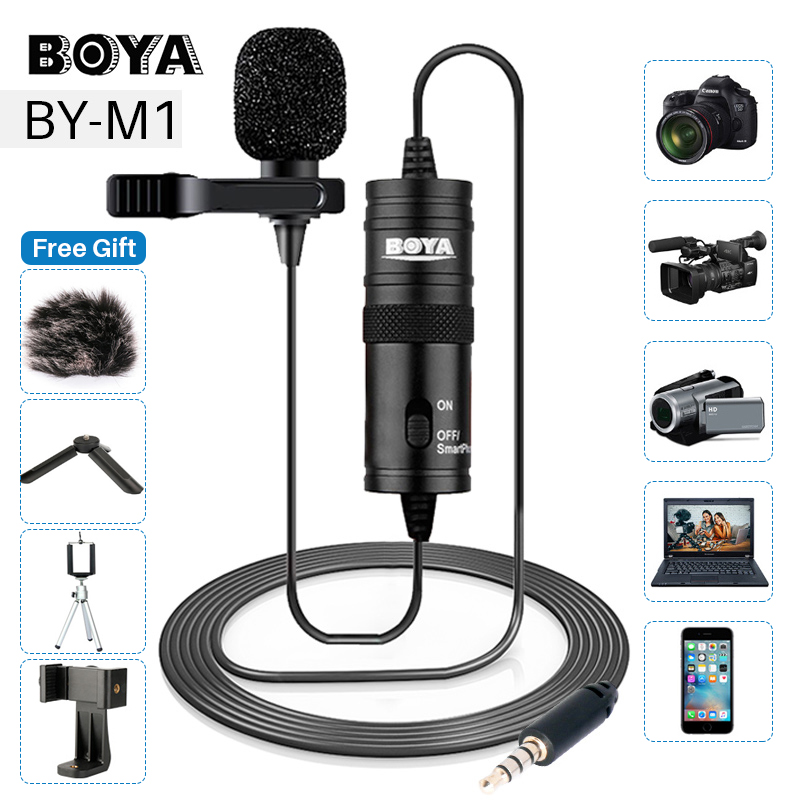 BOYA BY-M1 3.5mm Lavalier Lapel Microphone for Canon Nikon DSLR Camcorders, Studio microphone for iPhone Andriod Phone Zoom H1N image