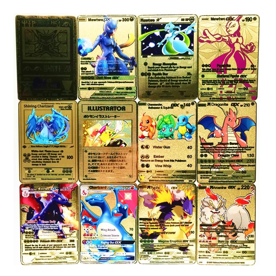 TAKARA TOMY 27 Styles  Pokemon Metal Card Game Anime Battle Gold Charizard Pikachu Collection Toys For Children Christmas Gift