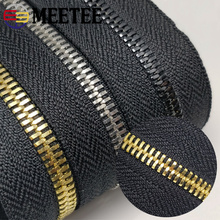 Meetee 5# 2Meters Metal Zipper Without Slider Double Pull Garment Luggage DIY Zip Sewing Crafts Clothing Bags Accessories ZA201